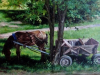 """The horse in the shade"", 20х30, oil, canvas, 2007"