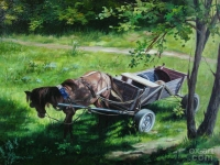 """The horse in the shade"" 30х40, oil, canvas, 2008"