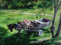 """""""Лошадь в тени"""" 30х40, холст, масло, 2008 г."""