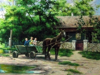 """Urchins go for a drive"", 30х40, oil, canvas, 2007"