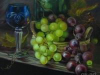 """""""Натюрморт с виноградом"""", 20х30, холст, масло, 2008 г."""