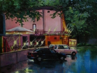"""Cafe in the evening"" 2007, 20х30, oil, canvas"