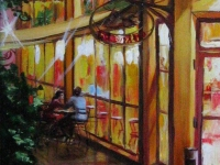 """Cafe in the evening"" 2007, 20х40, oil, canvas"