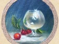 """Glass and cherries"" 14х14, oil, canvas, decorative frame 2014"