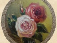 roses, 14х14, oil, canvas, 2014.