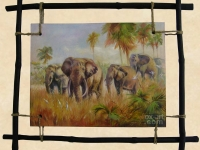 """Elephants"", 30х40, Oil on wood, decorative frame 2014"