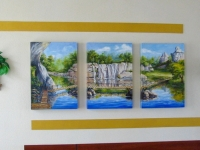 "The triptych ""The River"" oil, canvas, Ikebana , decorative registration, 2012"