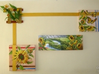 "The triptych ""Sunflowers"" oil, canvas, Ikebana , decorative registration, 2012"