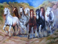 Dafen Oil Painting On Canvas Running Horses