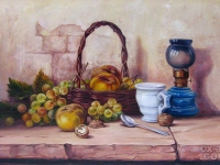 "ROBERT CHAILLOUX - ""Still Life with Basket of Fruit"""