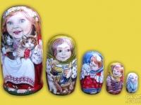 """m-46 - """"Девочки с котятами"""" 2016 г. 5 мест, темпера"""