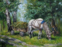 """""""In shadows the forest"""" 30х40, oil, canvas, 2009, Price € 600"""